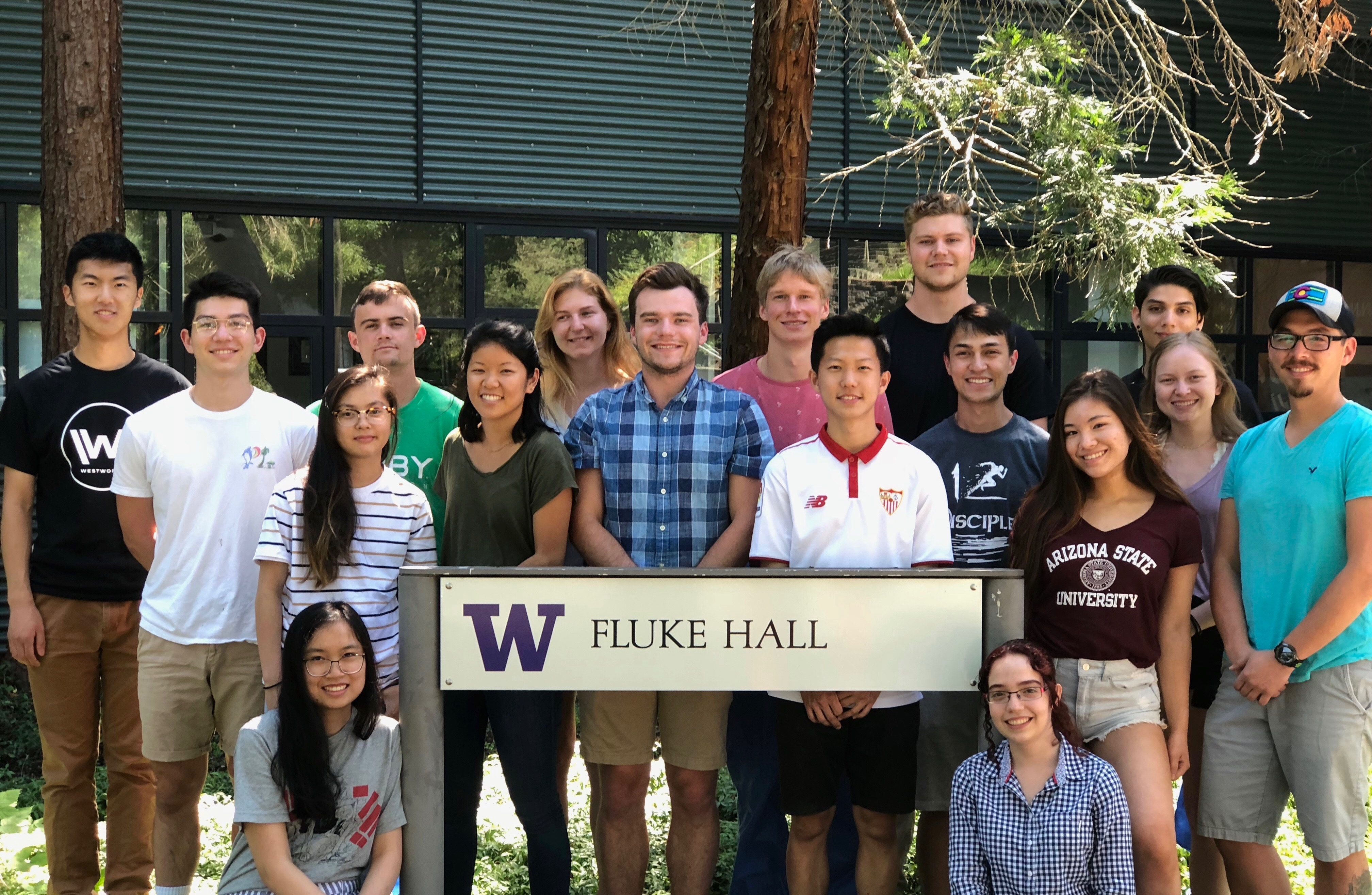 Students stand together in front of Fluke Hall